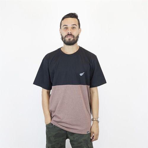 Camiseta Masculina Bicolor com Bordado Anjuss PRETO/MARROM PP