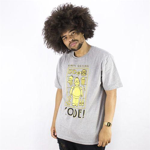 Camiseta Masculina Estampa Simpsons Code CINZA MESCLA P