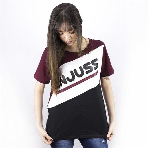 Camiseta Feminina Rounded Anjuss BORDO/BCO/PTO P