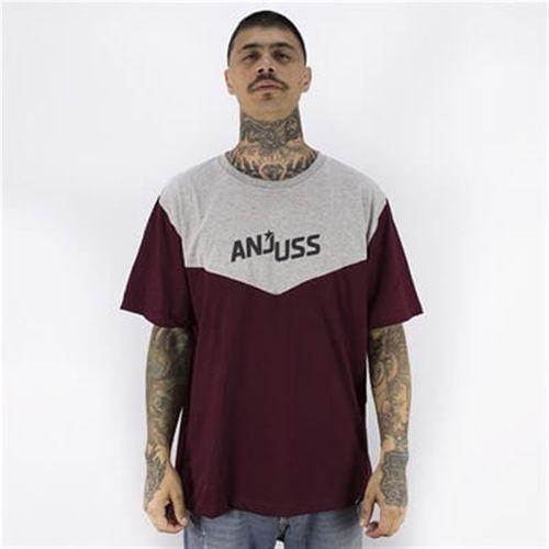 Camiseta Masculina Triangular Star Anjuss BORDO/MESCLA PP
