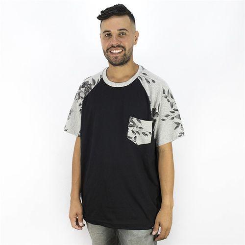 Camiseta Masculina Floral Bolso Anjuss PRETO/MESCLA G