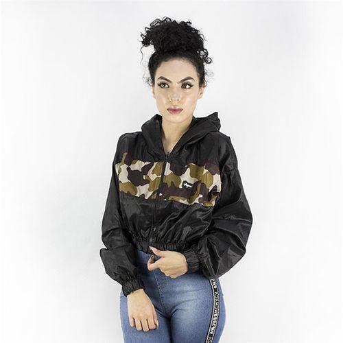 Jaqueta Corta Vento Feminina Detalhe Camuflado Anjuss PRETO/VERDE G