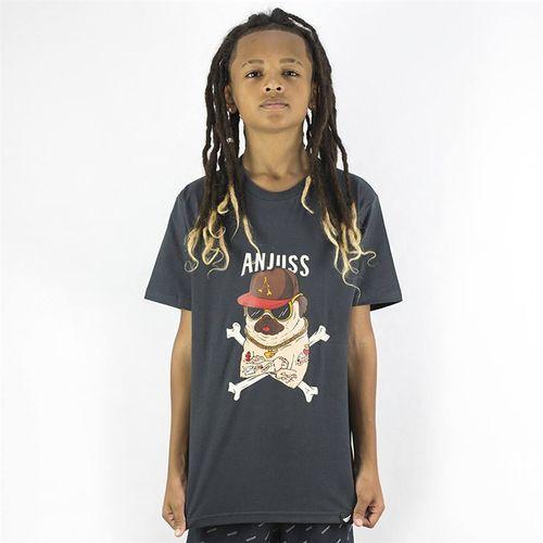Camiseta Juvenil Thug Pug Anjuss Cinza Chumbo 10