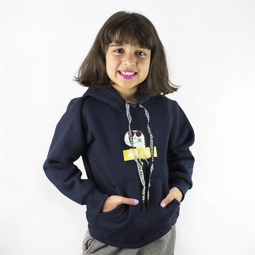 Moletom Canguru Kids Anjuss Dino Patins Azul Marinho 1