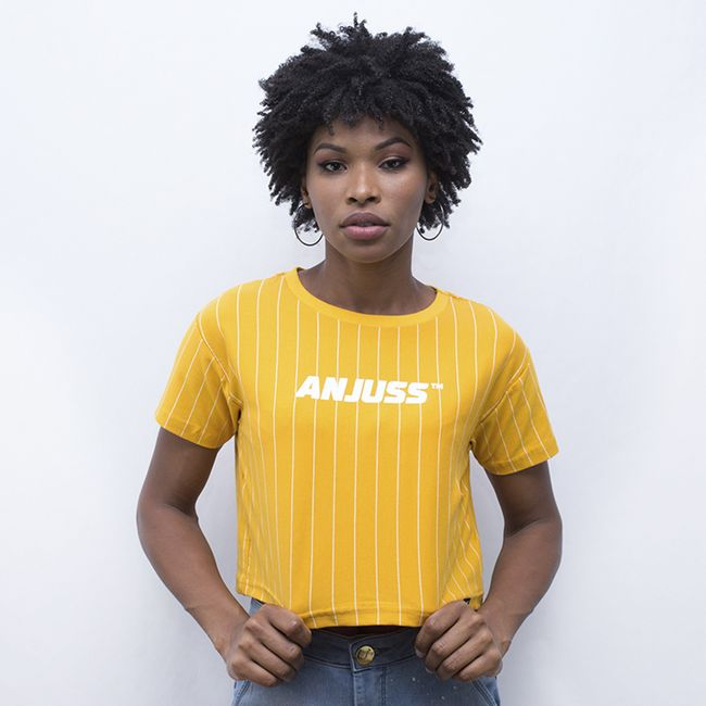 Camiseta Cropped Baseball Feminina Anjuss Amarelo/Branco PP