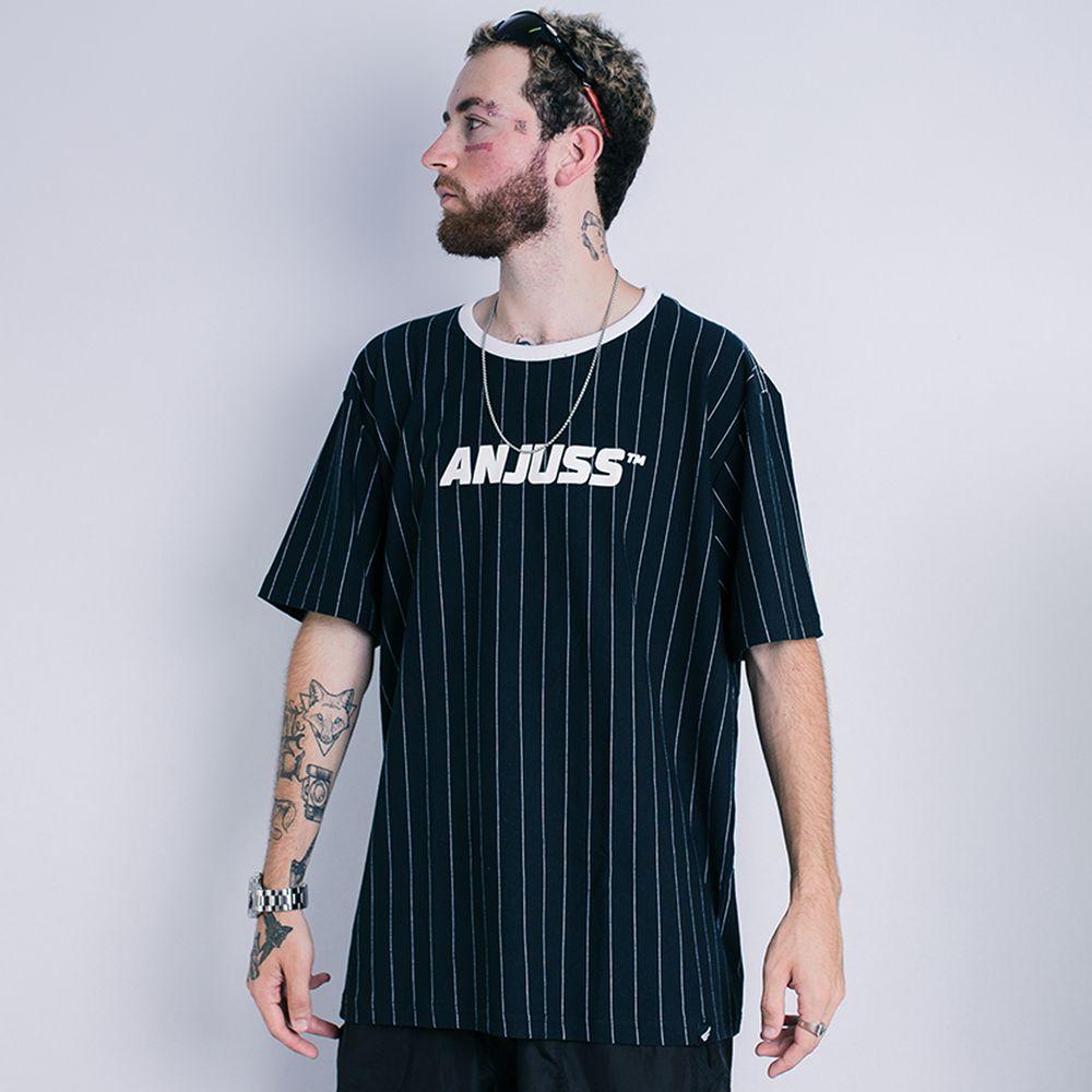 Camiseta Masculina Baseball Anjuss Preto/Branco P